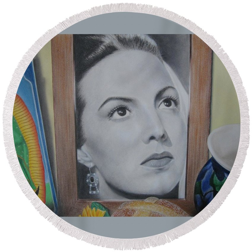 Maria Felix Round Beach Towel featuring the painting Maria Bonita by Lynet McDonald