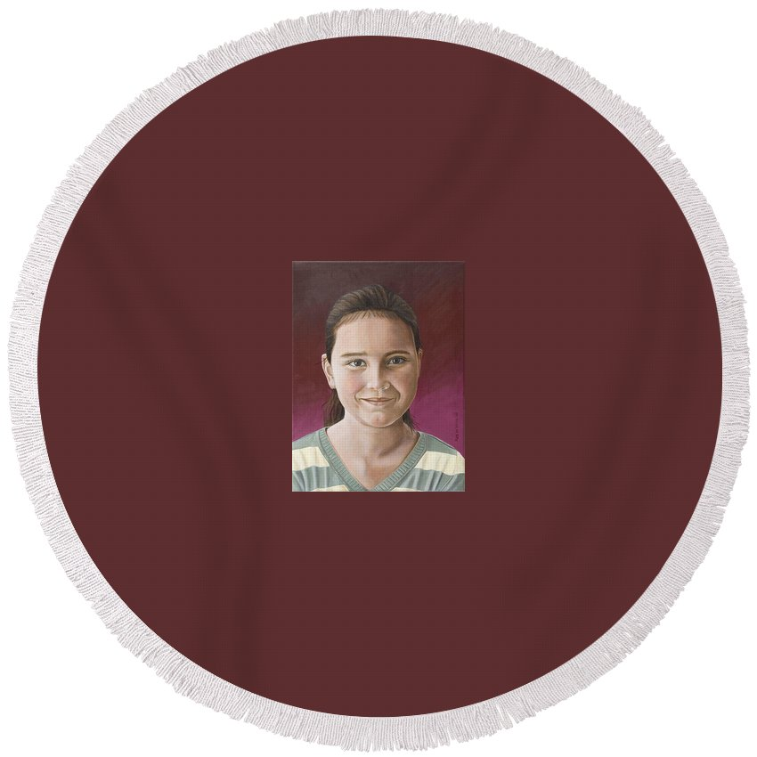 Portrait Round Beach Towel featuring the painting Maria by Rob De Vries