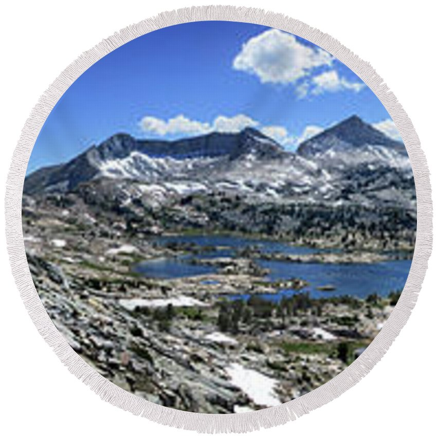 Sierra Round Beach Towel featuring the photograph Marie Lake Panorama From High Above - John Muir Trail by Bruce Lemons