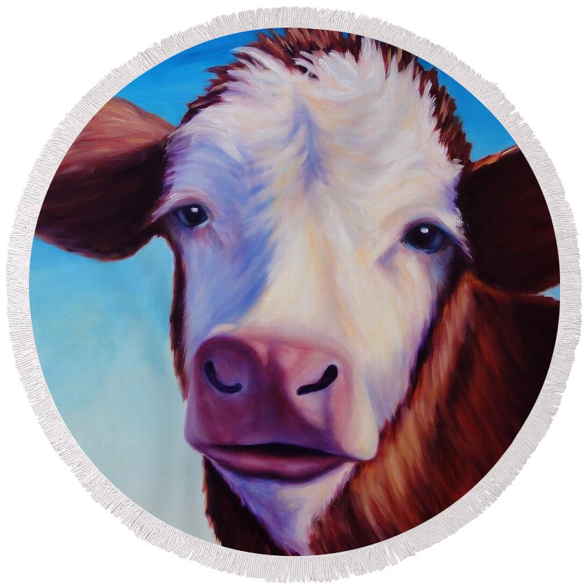 Cow Round Beach Towel featuring the painting Marie by Shannon Grissom