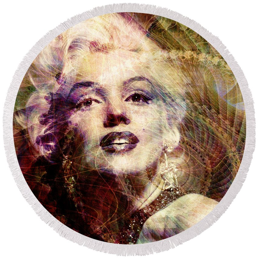 marilyn Monroe Round Beach Towel featuring the digital art Marilyn by Barbara Berney