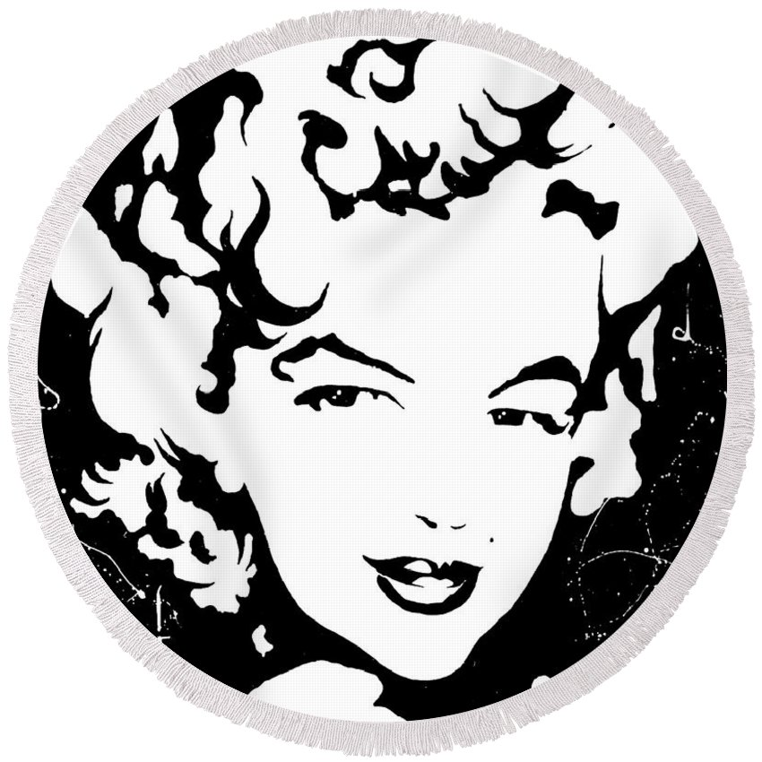 Portrait Round Beach Towel featuring the painting Marilyn Monroe by Curtiss Shaffer