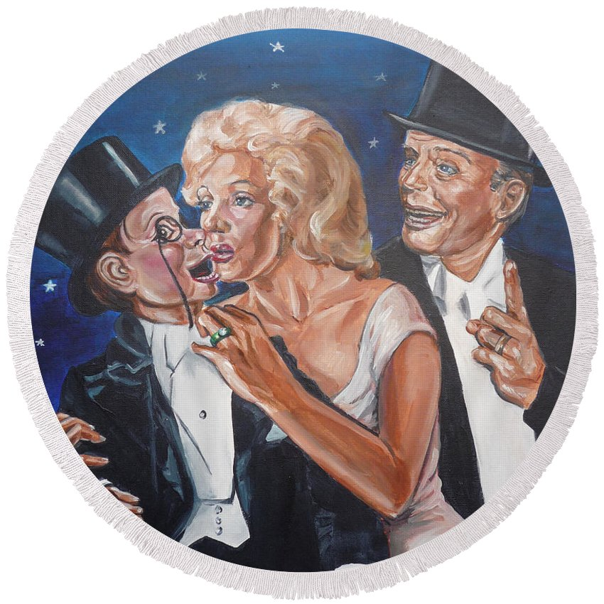 Old Time Radio Round Beach Towel featuring the painting Marilyn Monroe Marries Charlie Mccarthy by Bryan Bustard