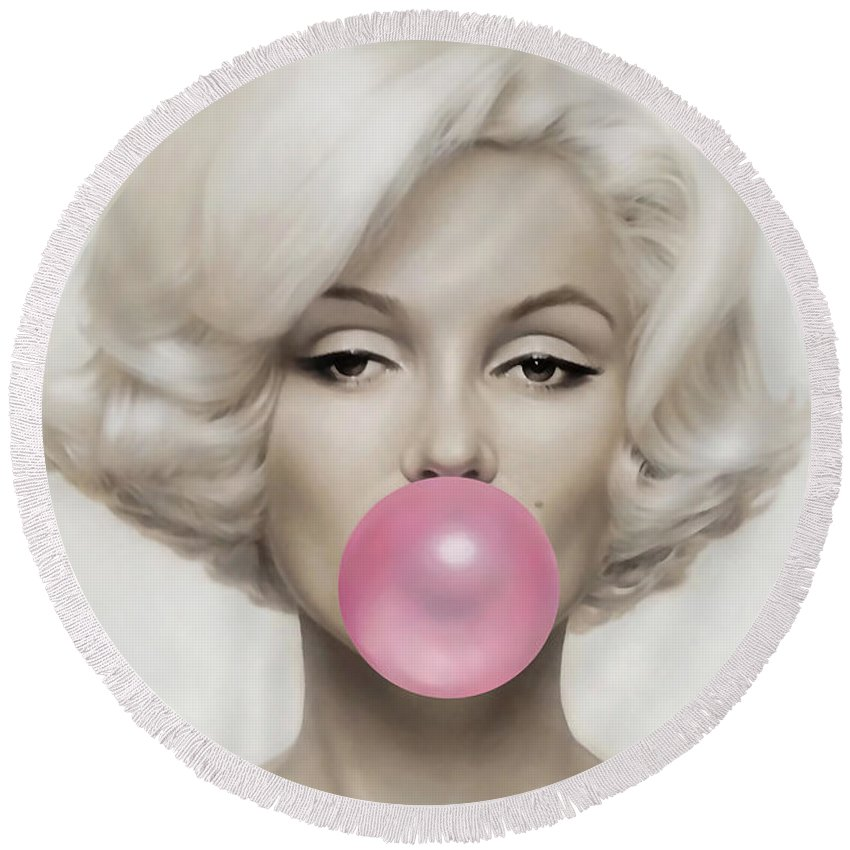 Pop Art Paintings Mixed Media Mixed Media Round Beach Towel featuring the mixed media Marilyn Monroe by Marvin Blaine