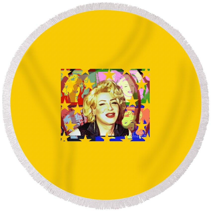 Marilyn Monroe Round Beach Towel featuring the photograph Marilyn Superstar Pop by Axeil Flash