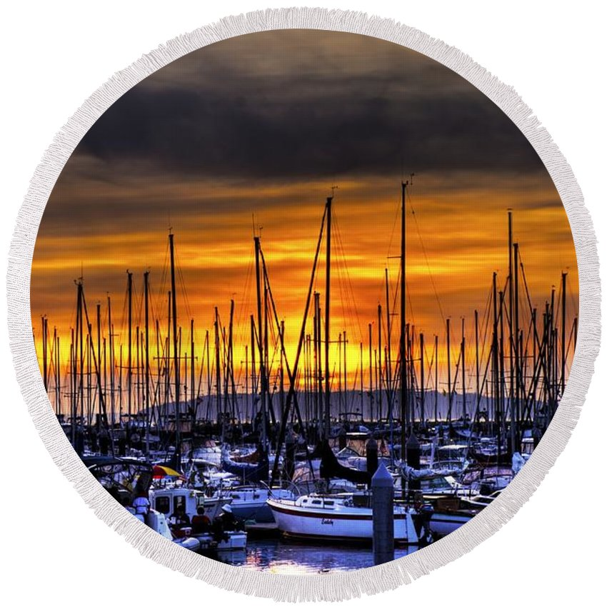 Hdr Round Beach Towel featuring the photograph Marina At Sunset by Brad Granger