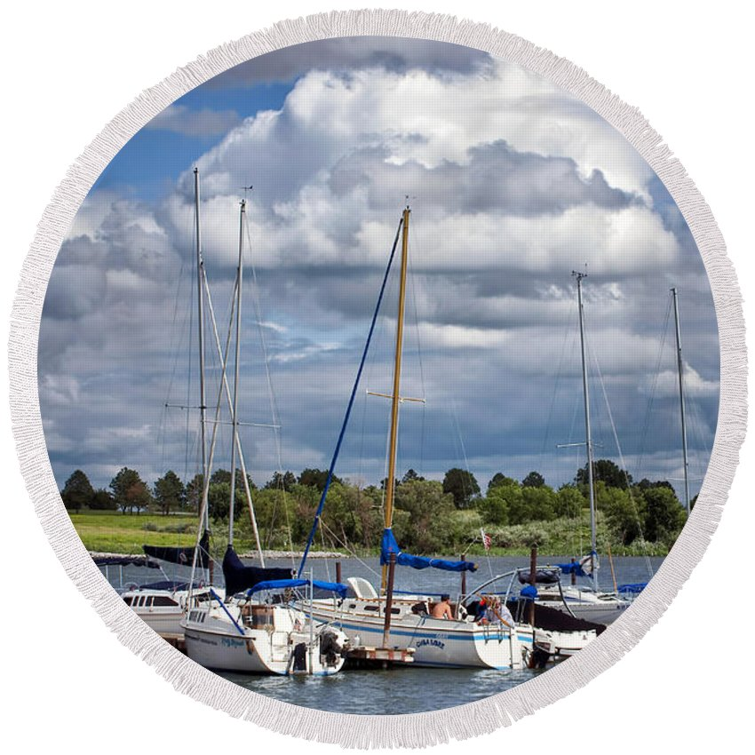 Branched Oak Lake Round Beach Towel featuring the photograph Marina - Branched Oak Lake by Nikolyn McDonald