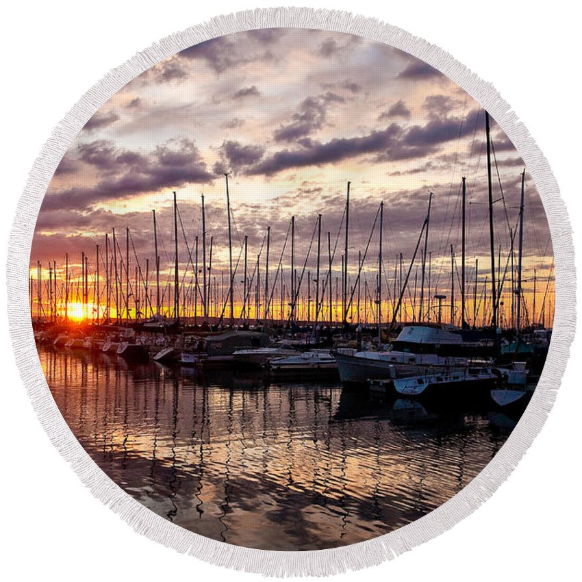 Sunset Round Beach Towel featuring the photograph Marina Sunset by Mike Reid