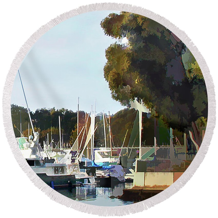 Boats Round Beach Towel featuring the painting Marina Views by Elaine Plesser