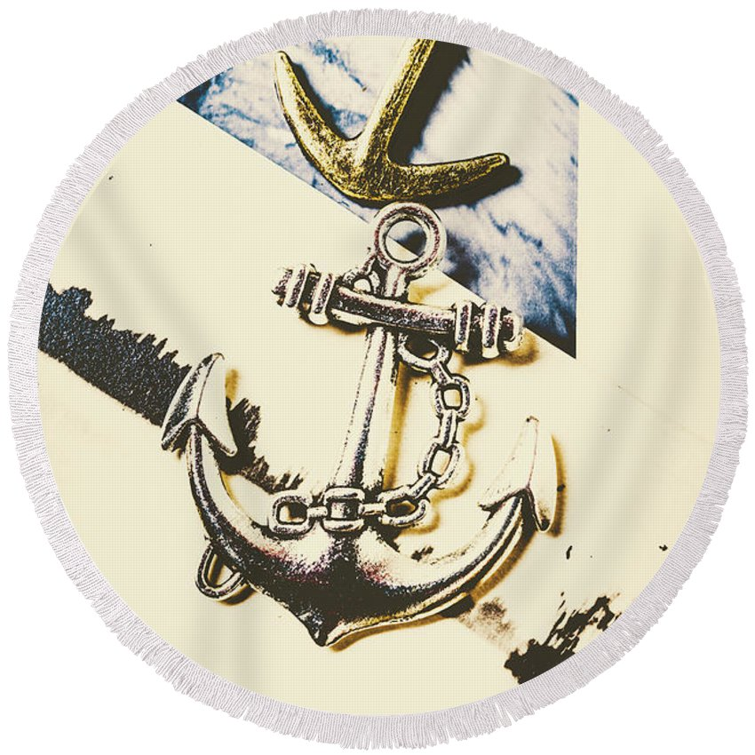 Marine Round Beach Towel featuring the photograph Marine Insignia by Jorgo Photography - Wall Art Gallery