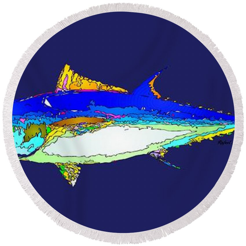 Fish Round Beach Towel featuring the digital art Marine Life by Rafael Salazar