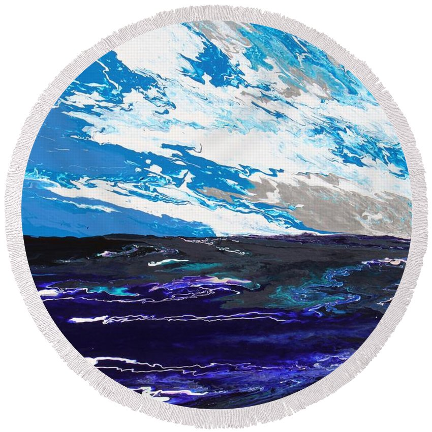 Fusionart Round Beach Towel featuring the painting Mariner by Ralph White