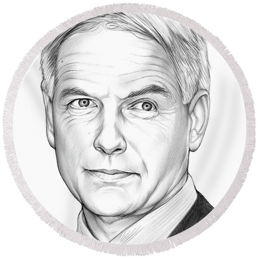 Mark Harmon Round Beach Towel featuring the drawing Mark Harmon by Greg Joens