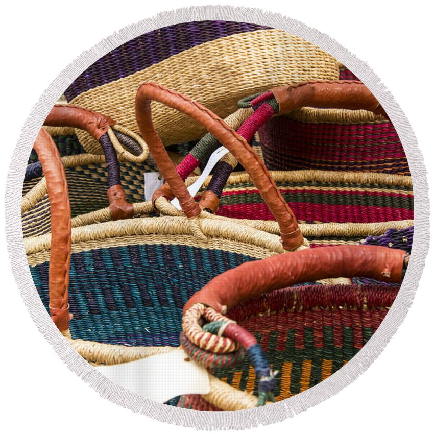 Georgetown Texas Market Markets Colorful Basket Baskets Crafts Round Beach Towel featuring the photograph Market Baskets by Bob Phillips