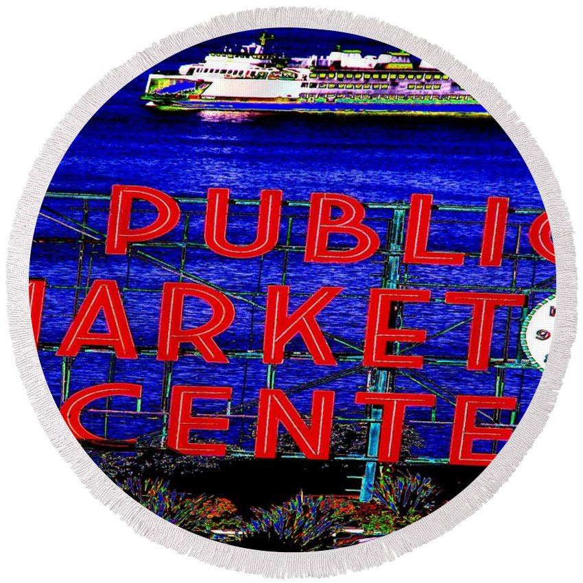 Seattle Round Beach Towel featuring the photograph Market Clock And Ferry by Tim Allen