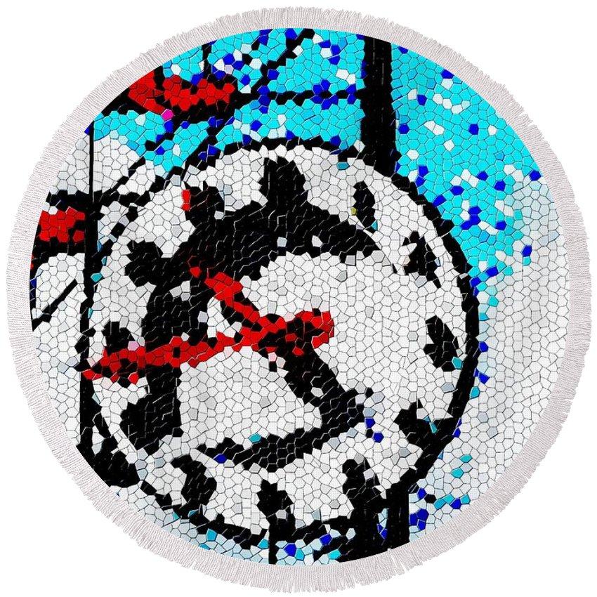 Seattle Round Beach Towel featuring the digital art Market Clock Mosaic by Tim Allen