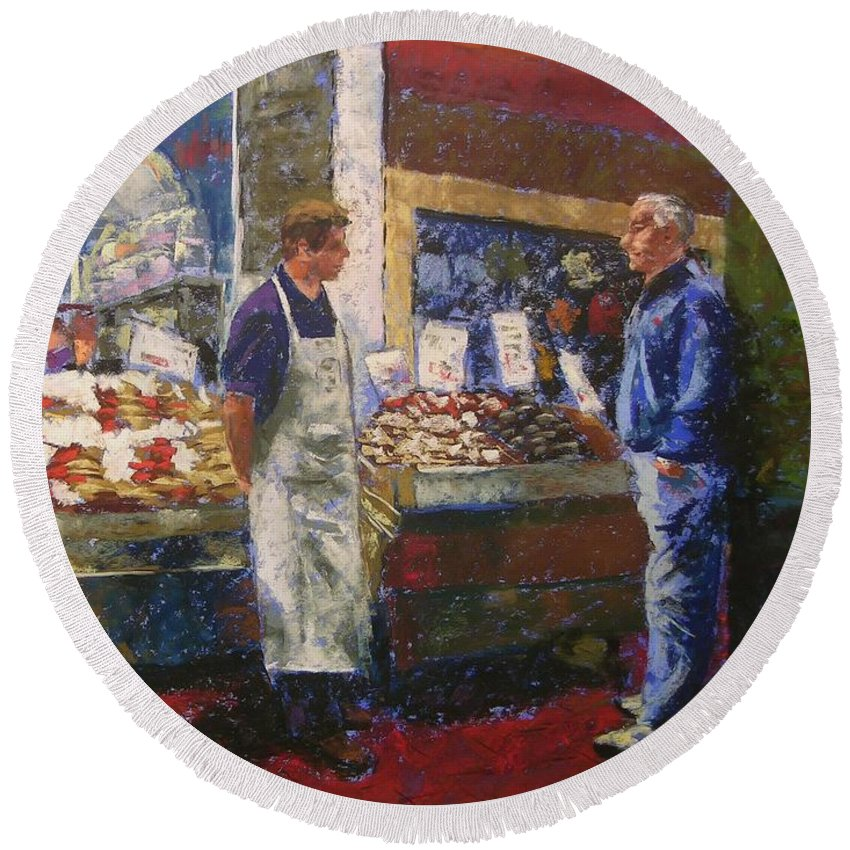 Pike Place Market Round Beach Towel featuring the painting Market Conversation by Mary McInnis
