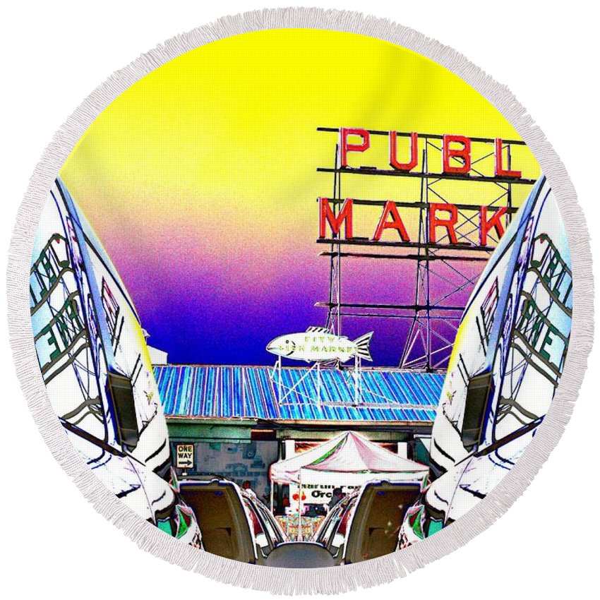 Seattle Round Beach Towel featuring the photograph Market Reflect by Tim Allen