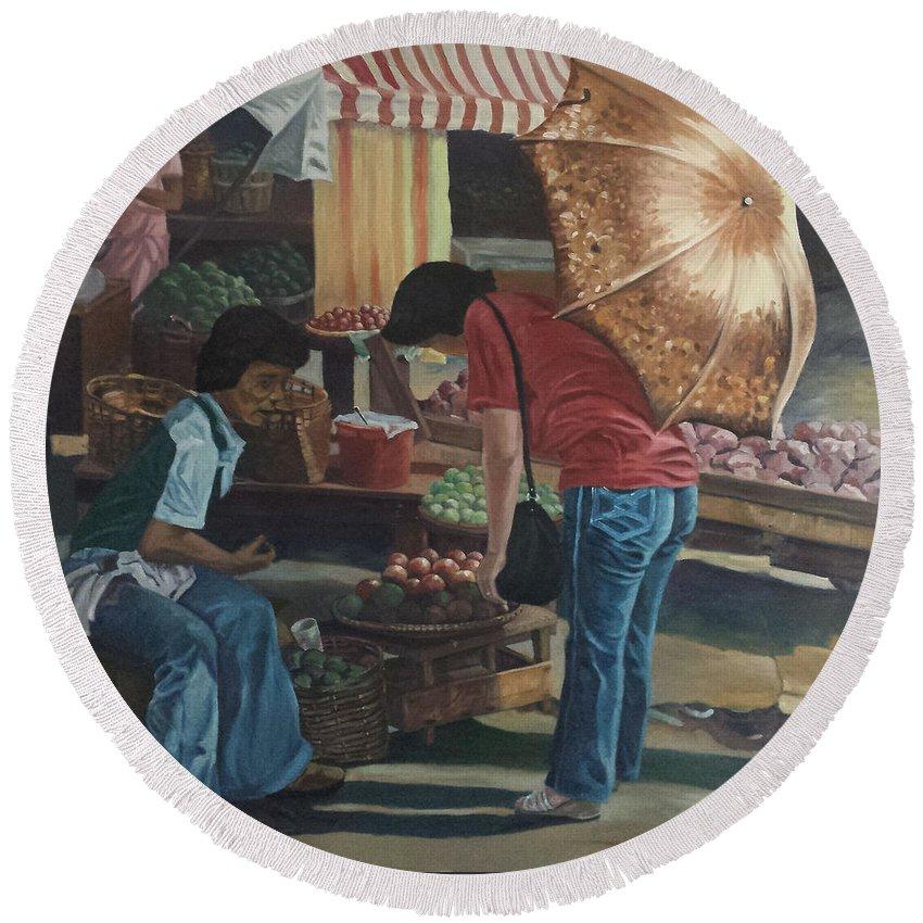 Divisoria Round Beach Towel featuring the painting Market Scene Divisoria by Edwin Villavera