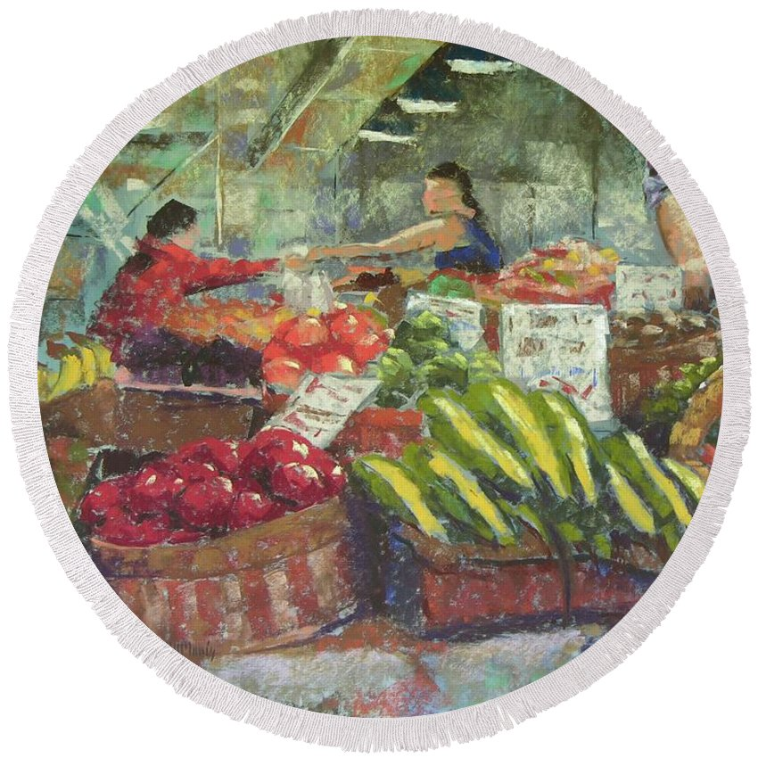 Pike Place Market Round Beach Towel featuring the painting Market Stacker by Mary McInnis
