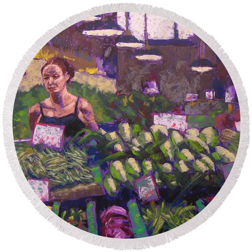 Pike Place Market Round Beach Towel featuring the painting Market Veggie Vendor by Mary McInnis
