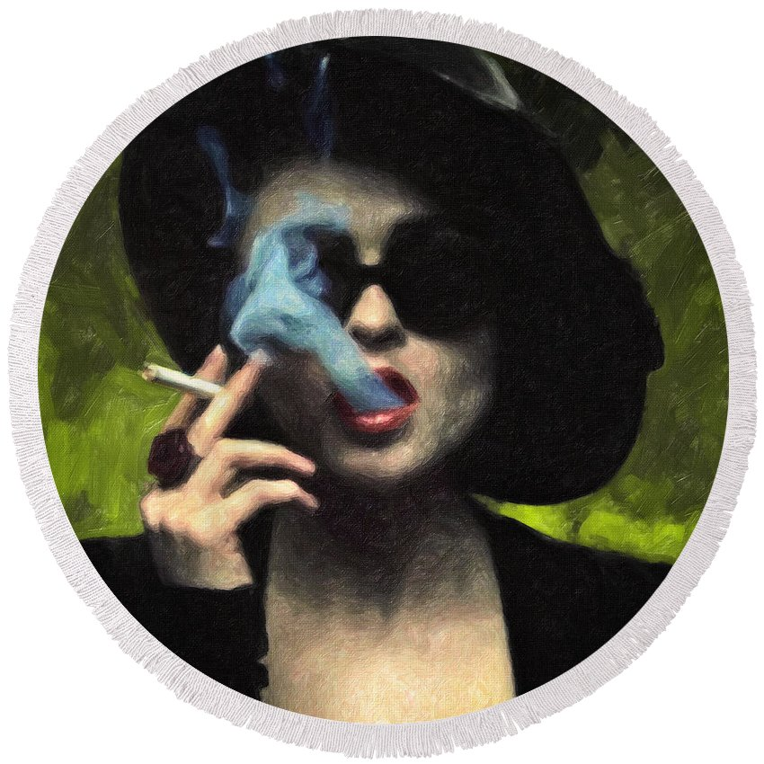 Marla Singer Round Beach Towel featuring the painting Marla Singer by Zapista