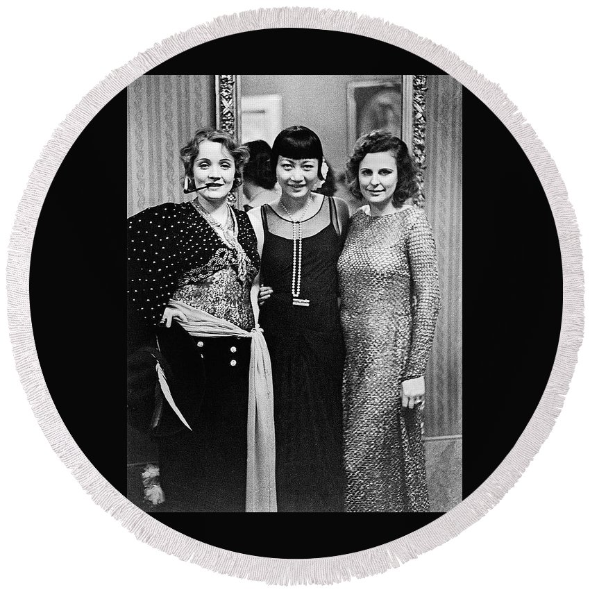 Marlene Dietrich Anna May Wong Leni Riefenstahl Berlin 1930 Round Beach Towel featuring the photograph Marlene Dietrich Anna May Wong Leni Riefenstahl Berlin 1930 by David Lee Guss