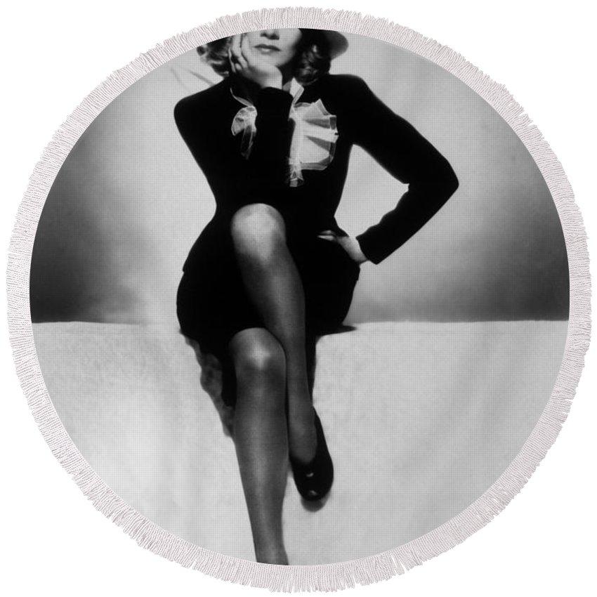 Marlene Dietrich Round Beach Towel featuring the photograph Marlene Dietrich by Unknown