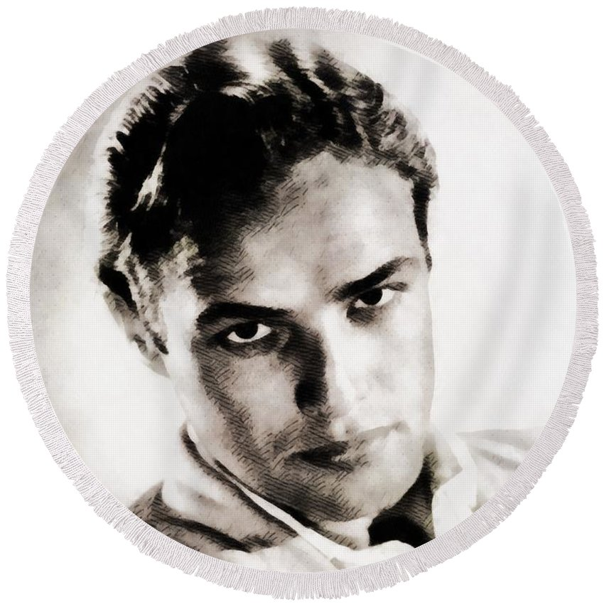 Hollywood Round Beach Towel featuring the painting Marlon Brando, Vintage Actor by John Springfield
