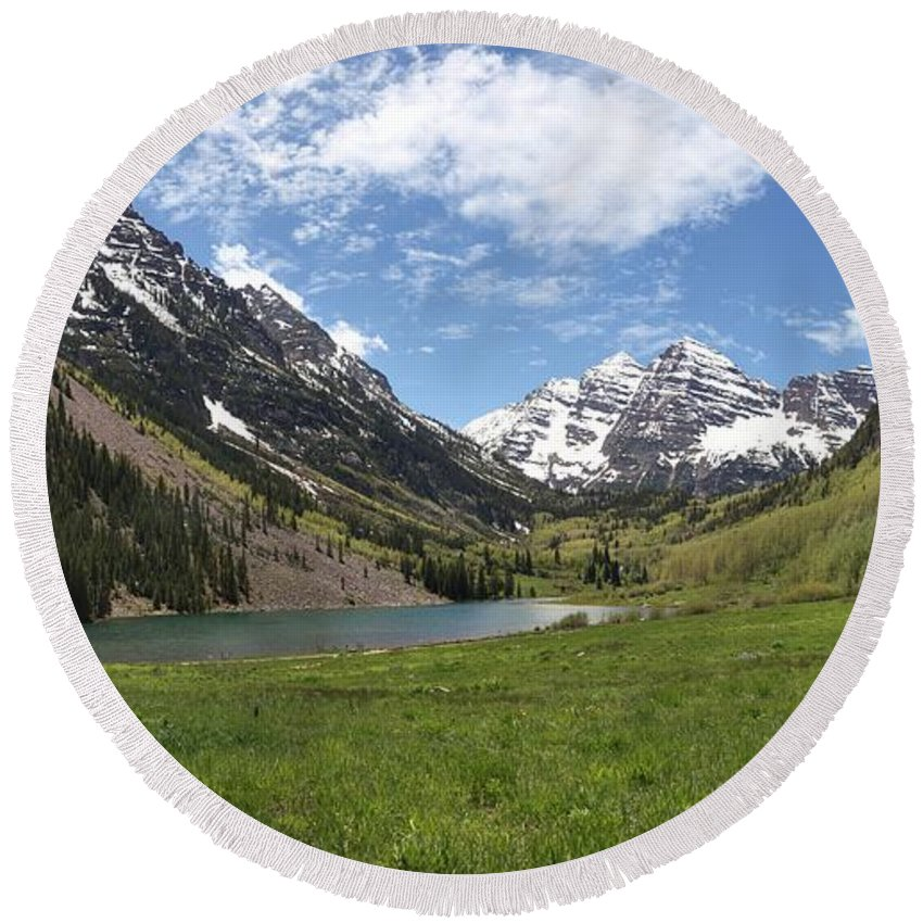 Maroon Bells Panorama Round Beach Towel featuring the photograph Maroon Bells Wilderness Panorama by Adam Jewell