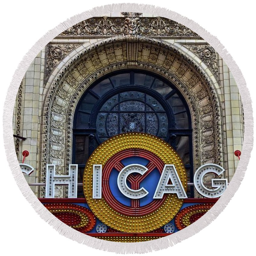 Chicago Round Beach Towel featuring the photograph Marquee Close Up by Frozen in Time Fine Art Photography
