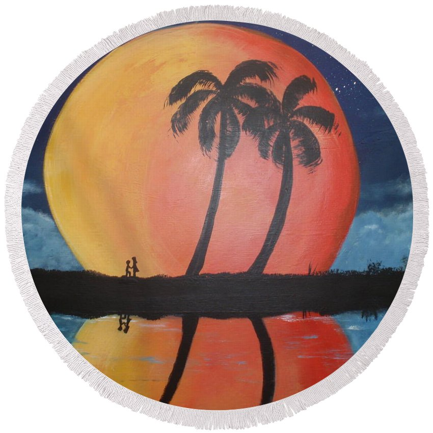 Folk Round Beach Towel featuring the painting Marry Me by Susan Michutka