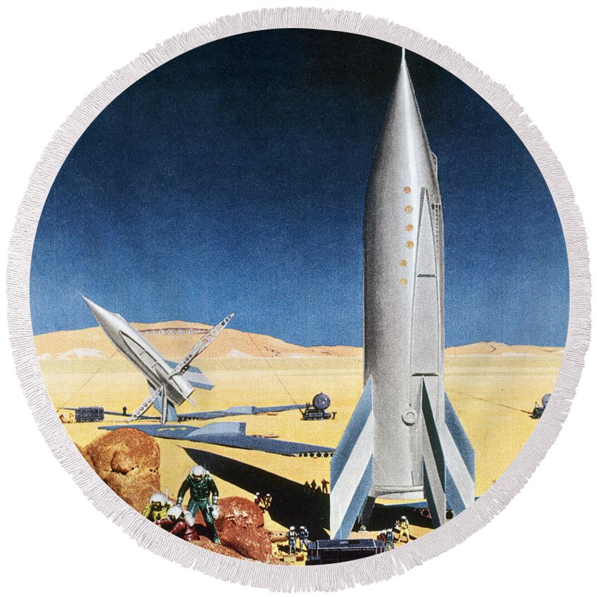 1950s Round Beach Towel featuring the photograph Mars Mission, 1950s by Granger