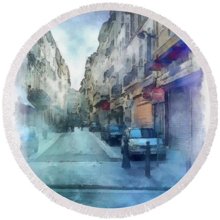 Marseille Round Beach Towel featuring the photograph Marseille Back Street by Paulette B Wright
