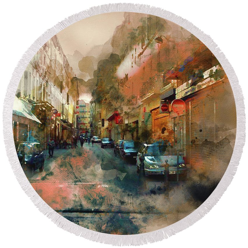 Wright Round Beach Towel featuring the digital art Marseille Side Street by Paulette B Wright