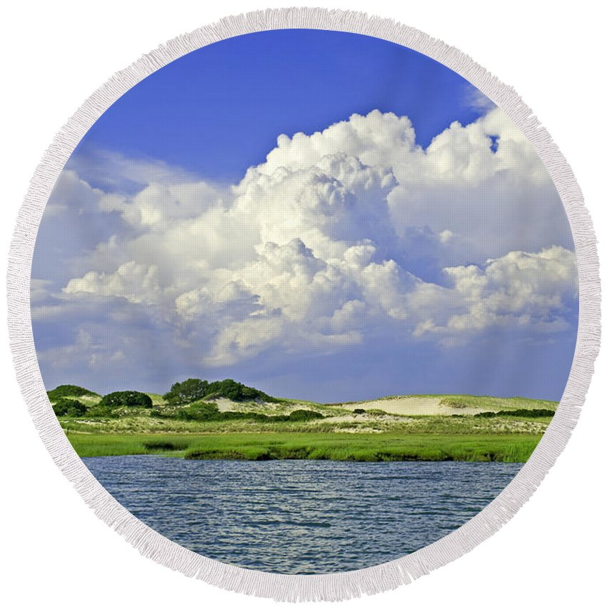 Marsh Round Beach Towel featuring the photograph Marsh And Dunes by Charles Harden