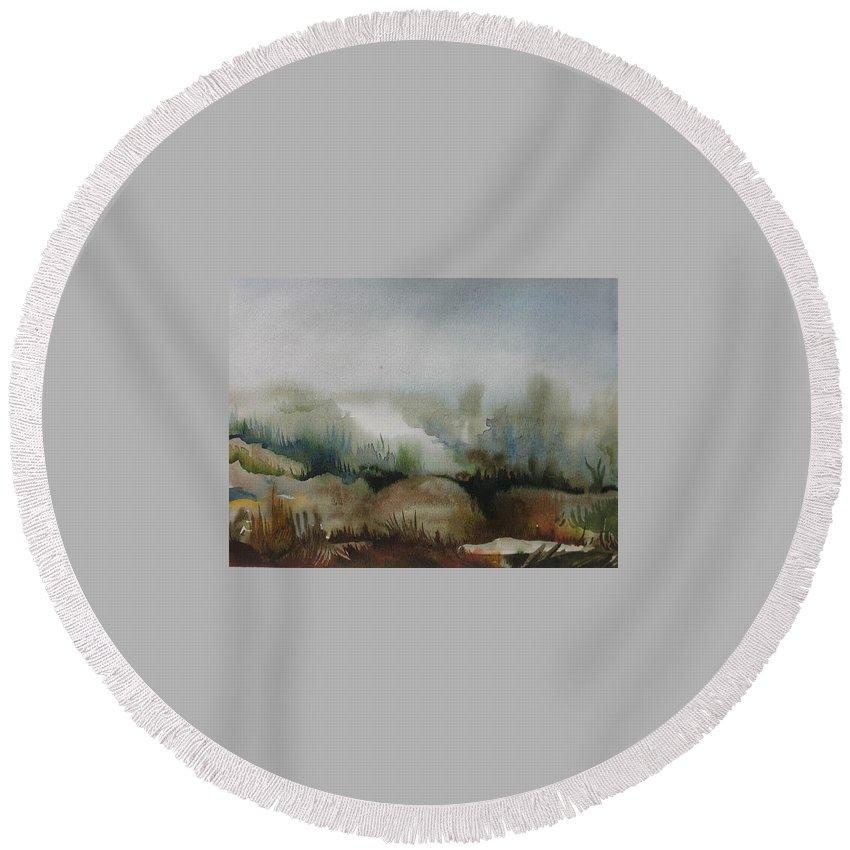 Marsh Round Beach Towel featuring the painting Marsh by Anna Duyunova