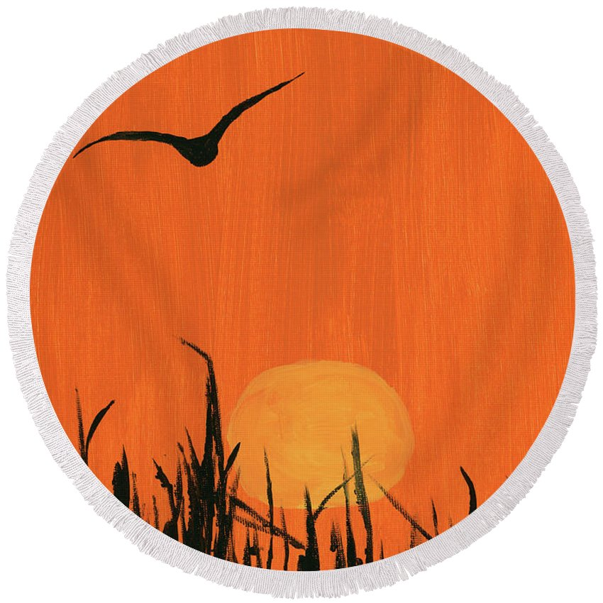 Bird Round Beach Towel featuring the painting Marsh Home by Alexis Grone