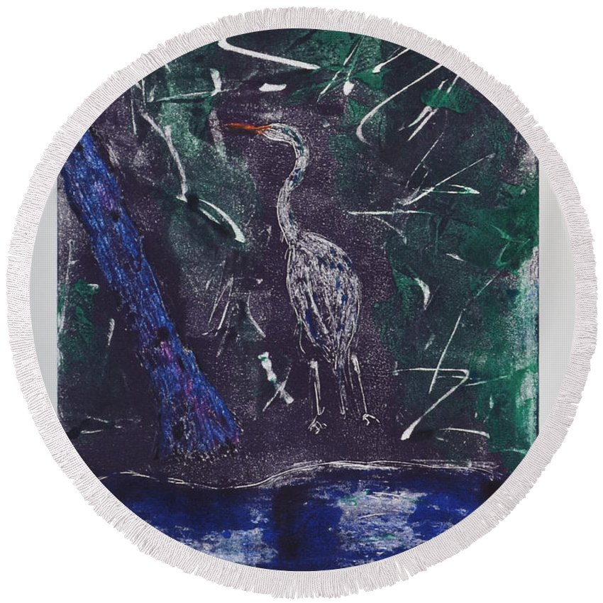 Monotype Round Beach Towel featuring the mixed media Marsh Magic by Cori Solomon