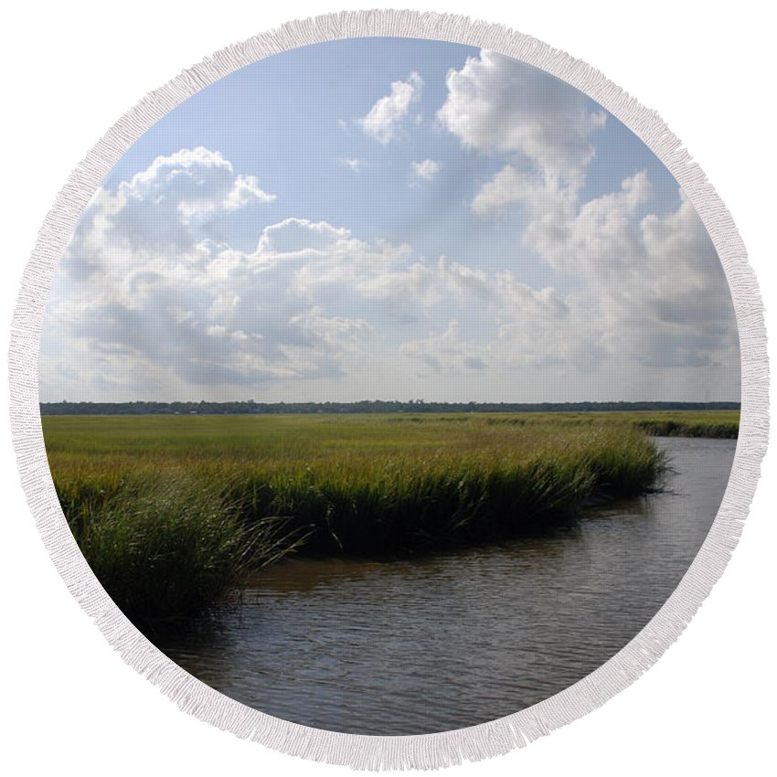 Photography Round Beach Towel featuring the photograph Marsh Scene Charleston Sc II by Susanne Van Hulst