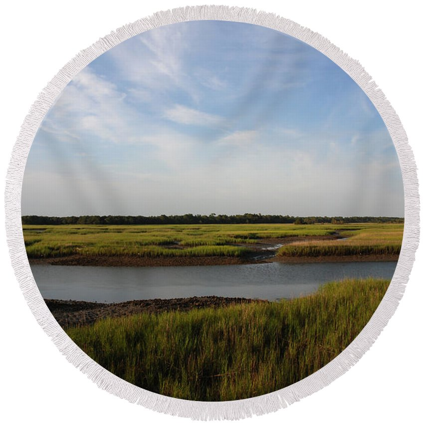 Photography Round Beach Towel featuring the photograph Marsh Scene Charleston Sc by Susanne Van Hulst