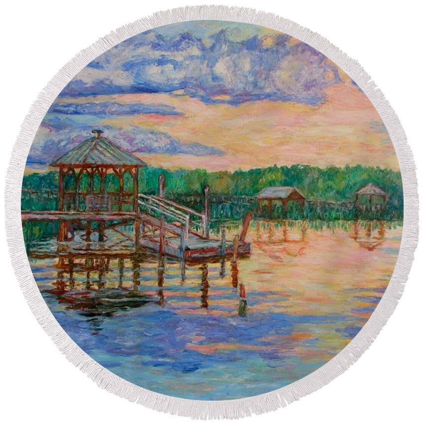 Landscape Round Beach Towel featuring the painting Marsh View At Pawleys Island by Kendall Kessler