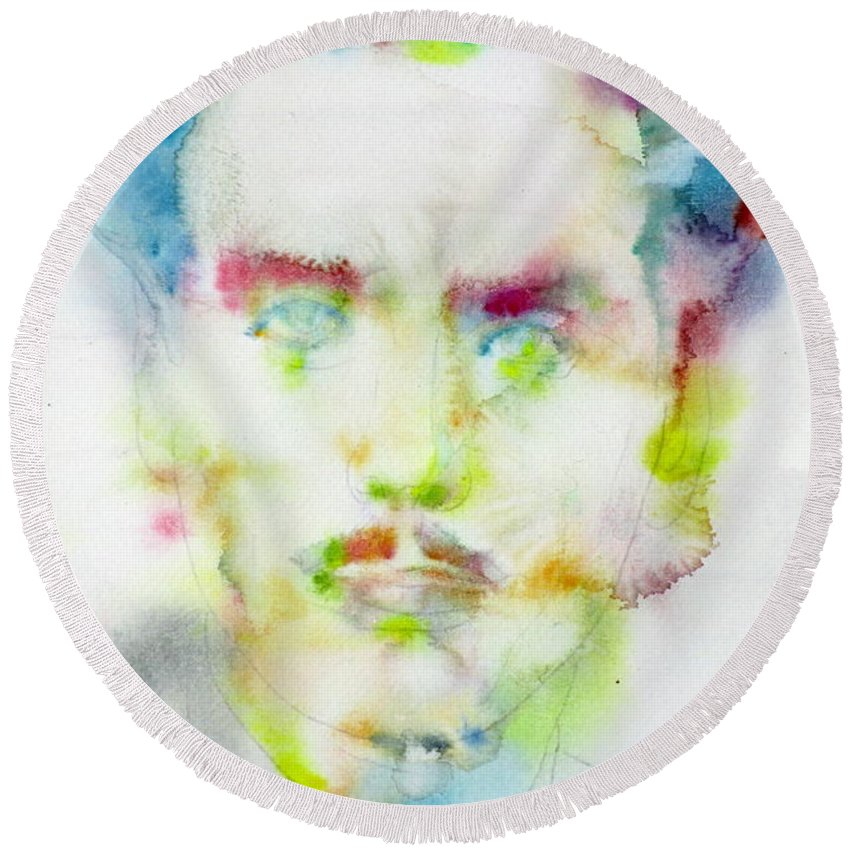 Marshall Mcluhan Round Beach Towel featuring the painting Marshall Mcluhan - Watercolor Portrait by Fabrizio Cassetta