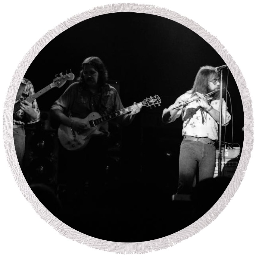 Marshall Tucker Round Beach Towel featuring the photograph Marshall Tucker Winterland 1975 #35 by Ben Upham