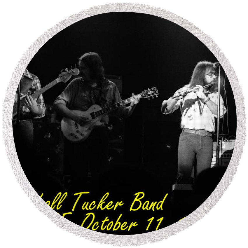Marshall Tucker Round Beach Towel featuring the photograph Marshall Tucker Winterland 1975 #37 Crop 2 With Text by Ben Upham
