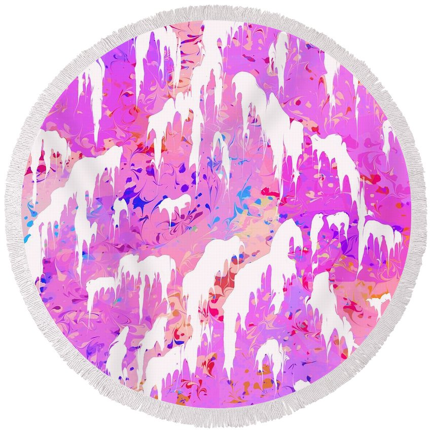 Abstract Round Beach Towel featuring the digital art Marshmallow Mountain by Rachel Christine Nowicki
