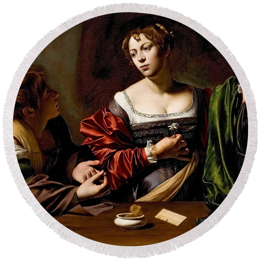 Caravaggio Round Beach Towel featuring the painting Martha And Mary Magdalen by Caravaggio