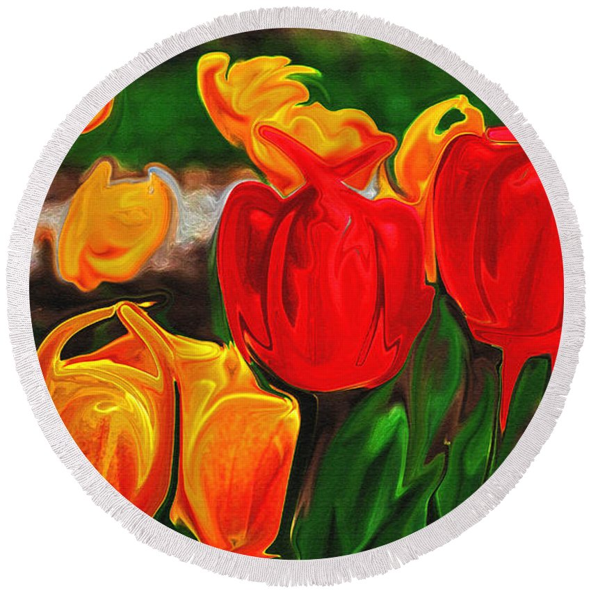 Tulips Round Beach Towel featuring the photograph Martha's Garden by Laura Mace Rand