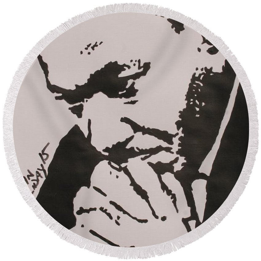Pop Art Round Beach Towel featuring the painting Martin Luther King by John Halliday