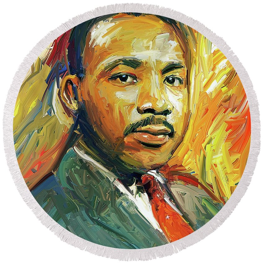 Martin Round Beach Towel featuring the digital art Martin Luther King Portrait 2 by Yury Malkov